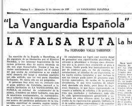 La Falsa Ruta, article publicat el 15 de febrer de 1939 a la Vanguardia.jpg